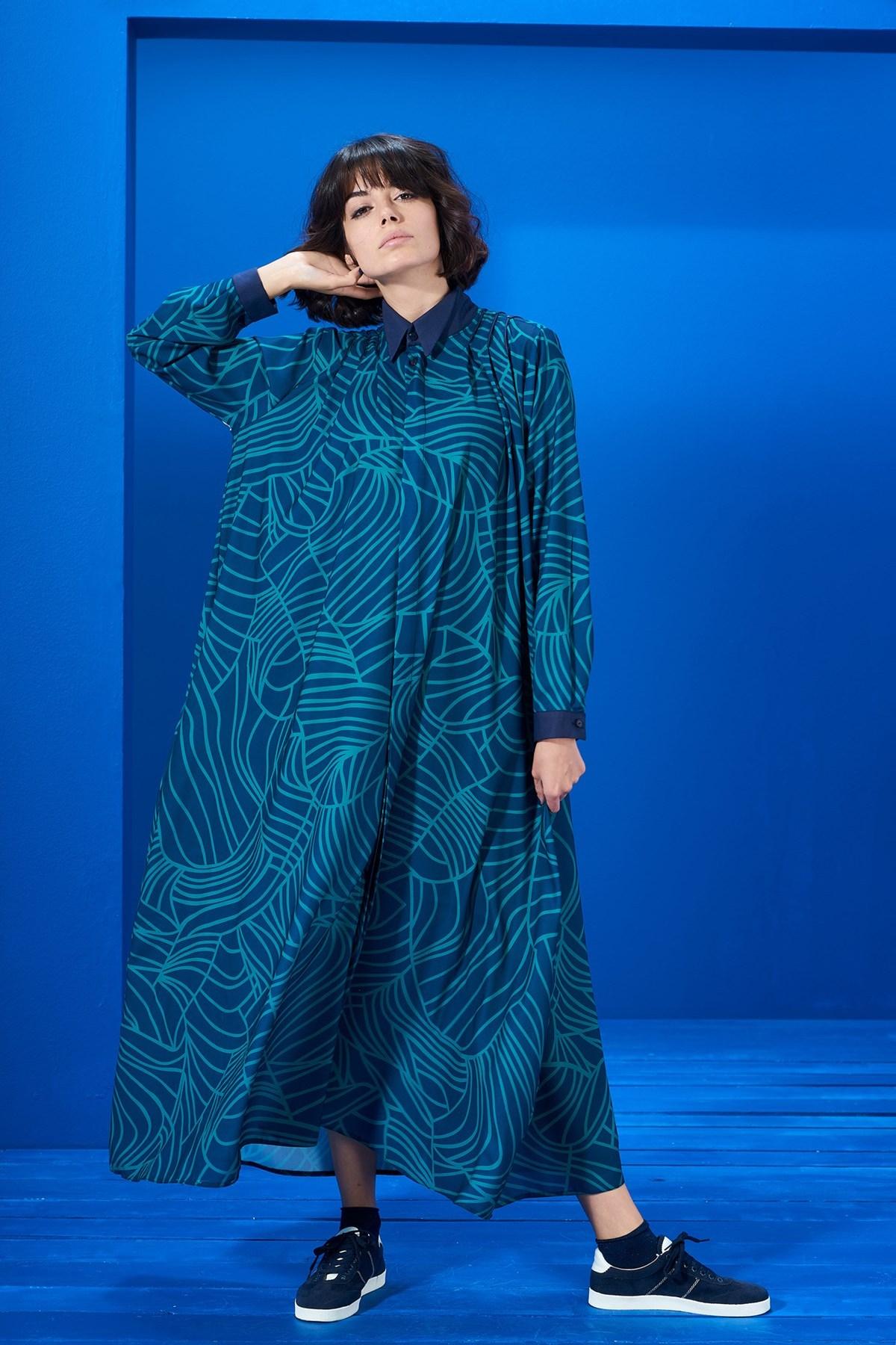 Mevra - Yaka Detay Elbise Desenli Laci-Yeşil