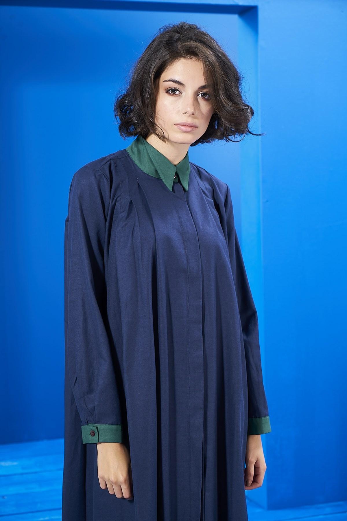 Mevra - Yaka Detay Elbise Laci-Yeşil