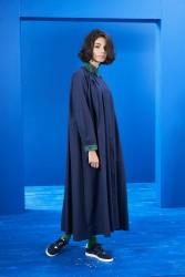 Yaka Detay Elbise Laci-Yeşil - Thumbnail