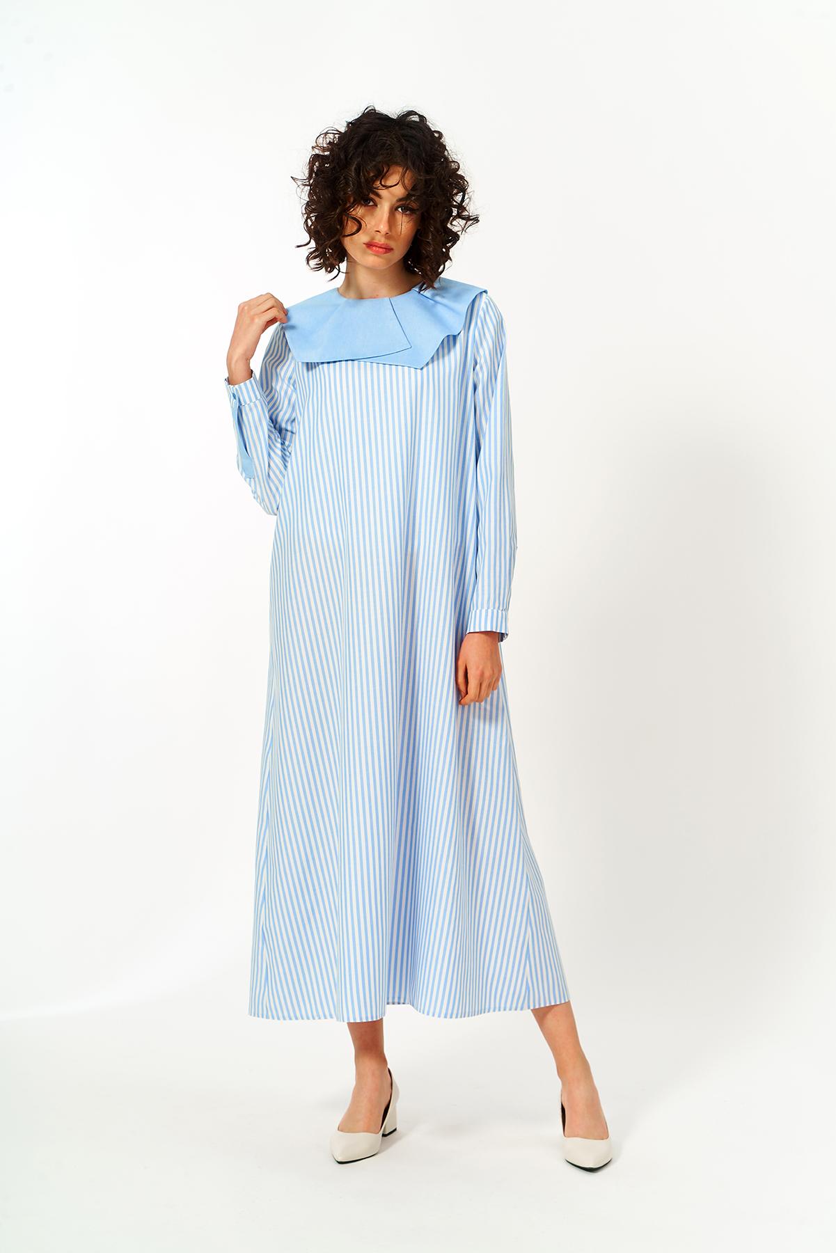 Mevra - Yaka Detay Elbise Mavi