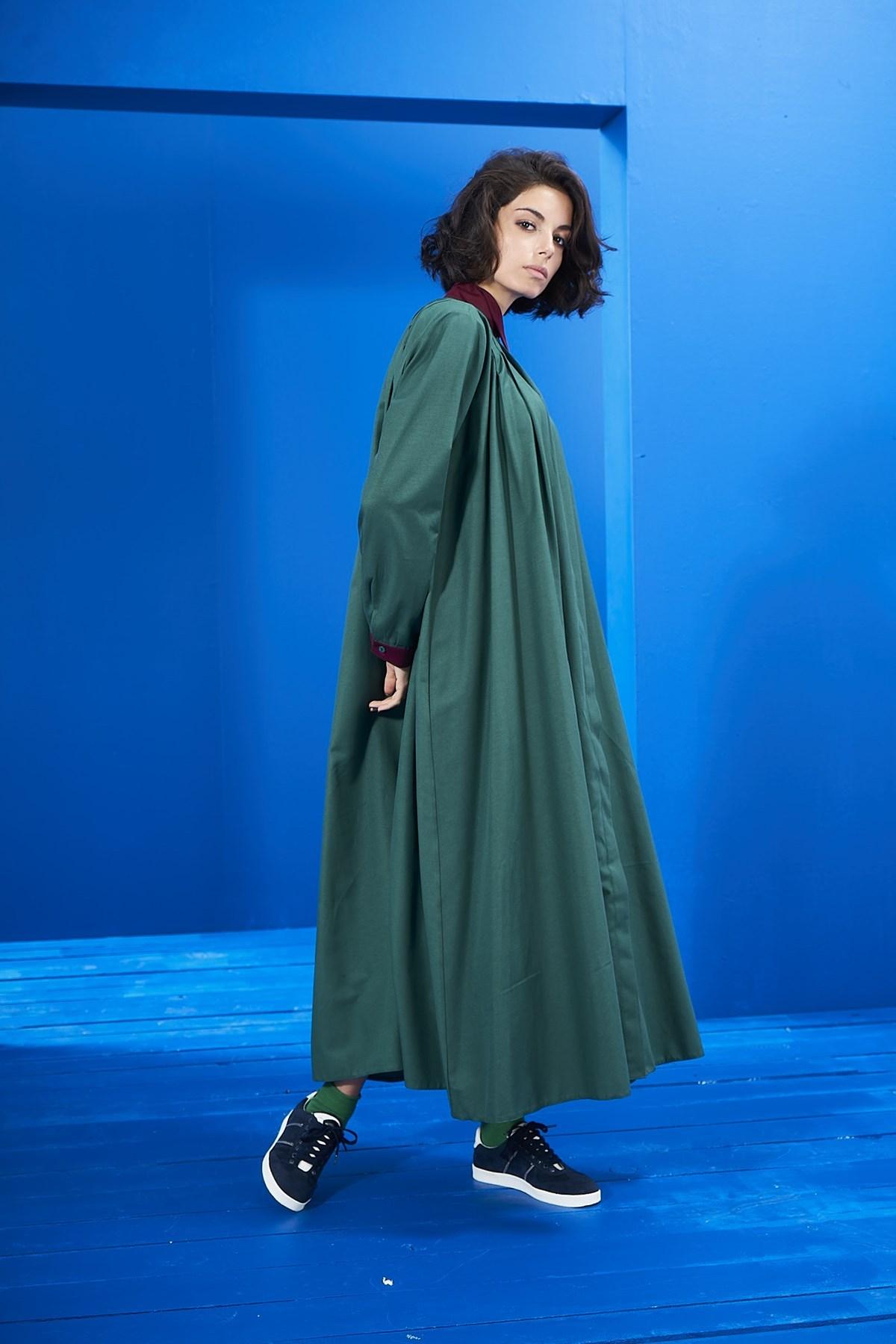 Mevra - Yaka Detay Elbise Yeşil-Bordo
