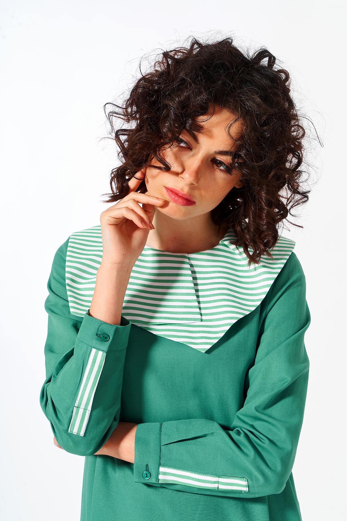 Mevra - Yaka Detay Elbise Yeşil