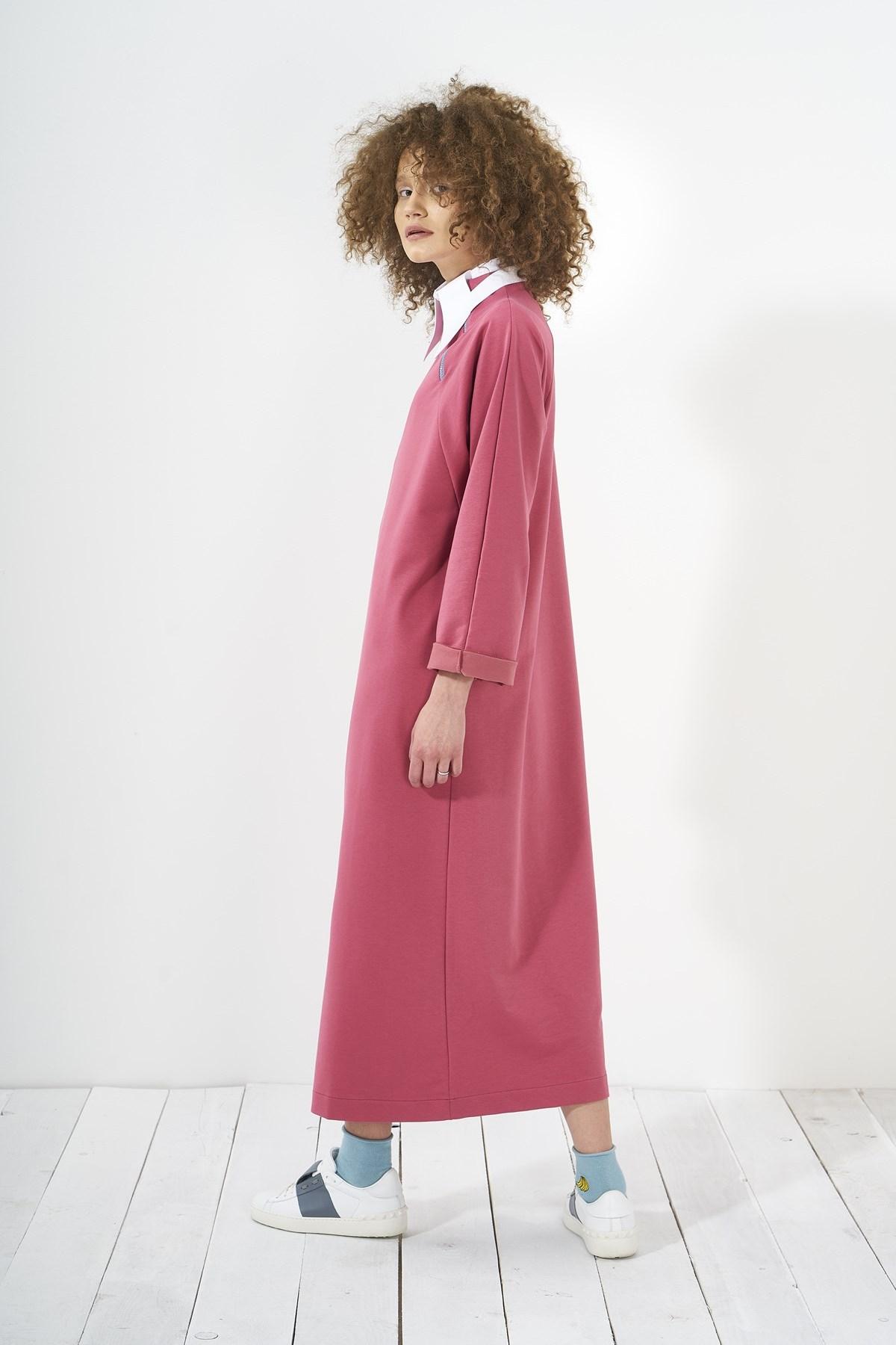 Mevra - Yaka Fermuarlı Elbise Gül Kurusu