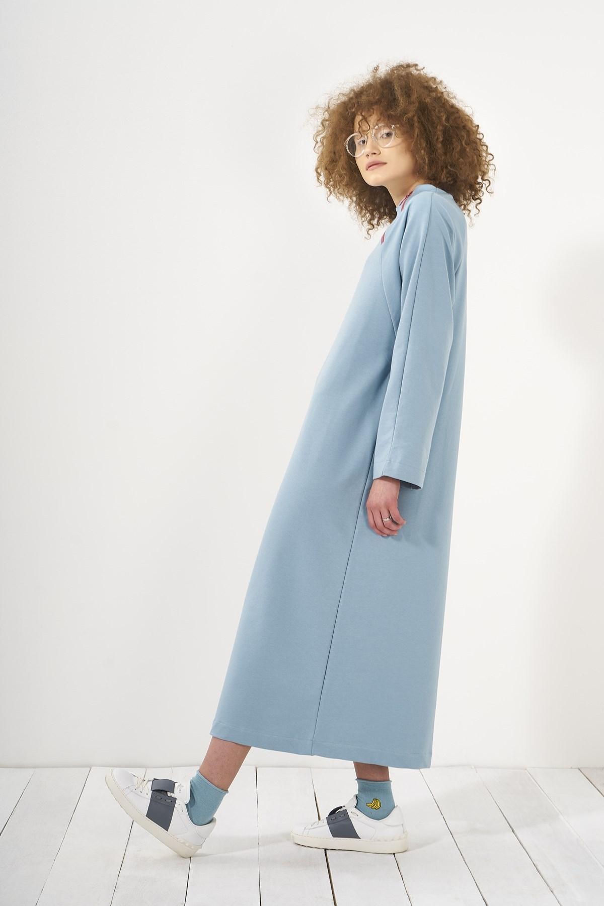Mevra - Yaka Fermuarlı Elbise Mavi