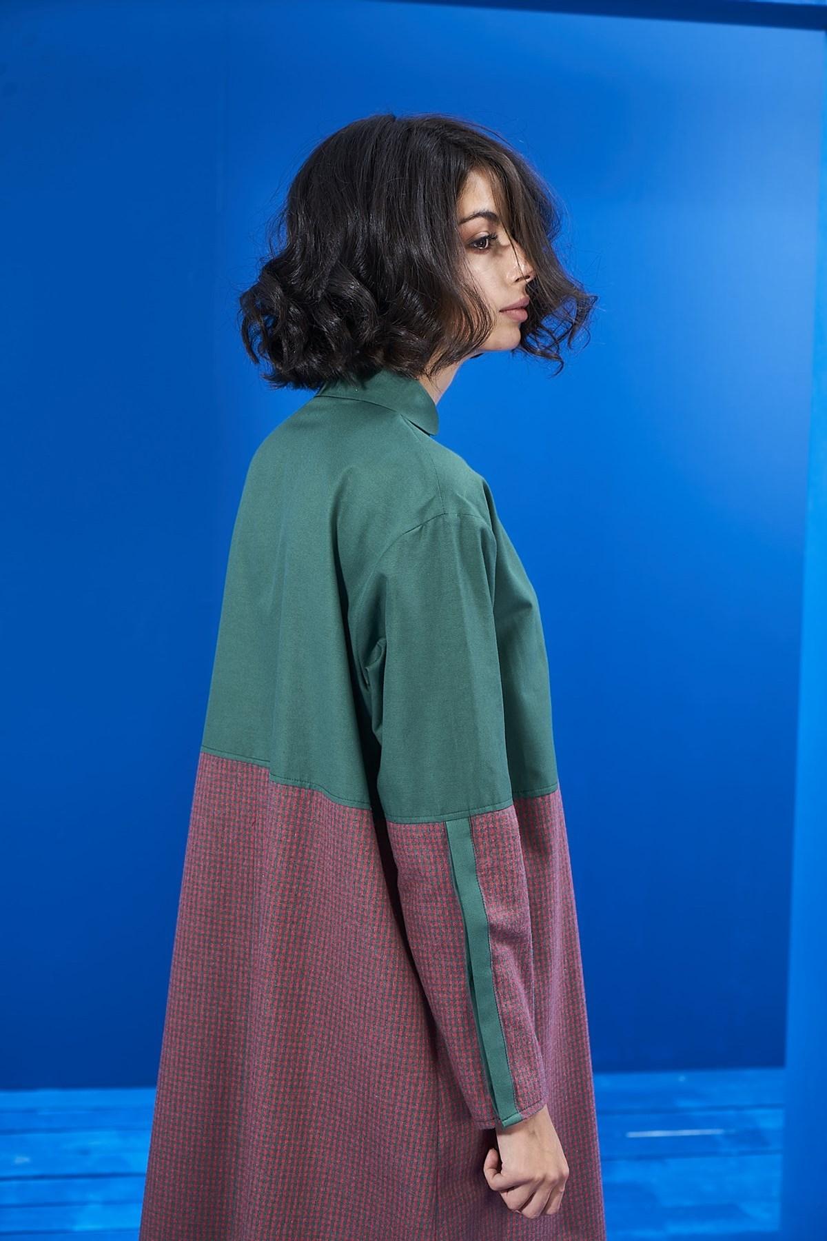 Mevra - Yeşil Blok Ekose Elbise