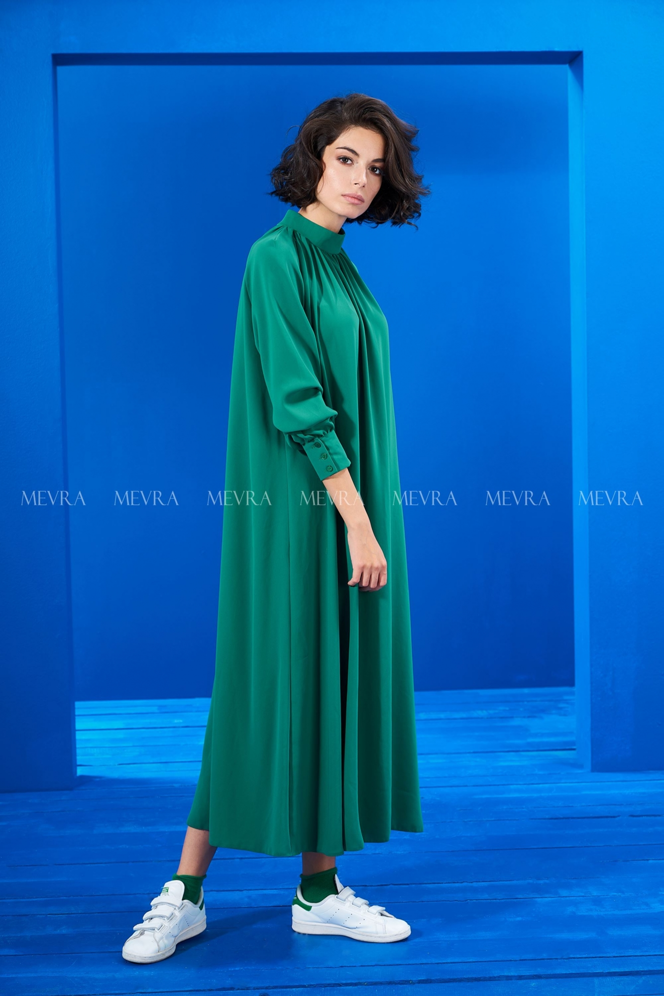 Mevra - Yeşil Büzgülü Elbise