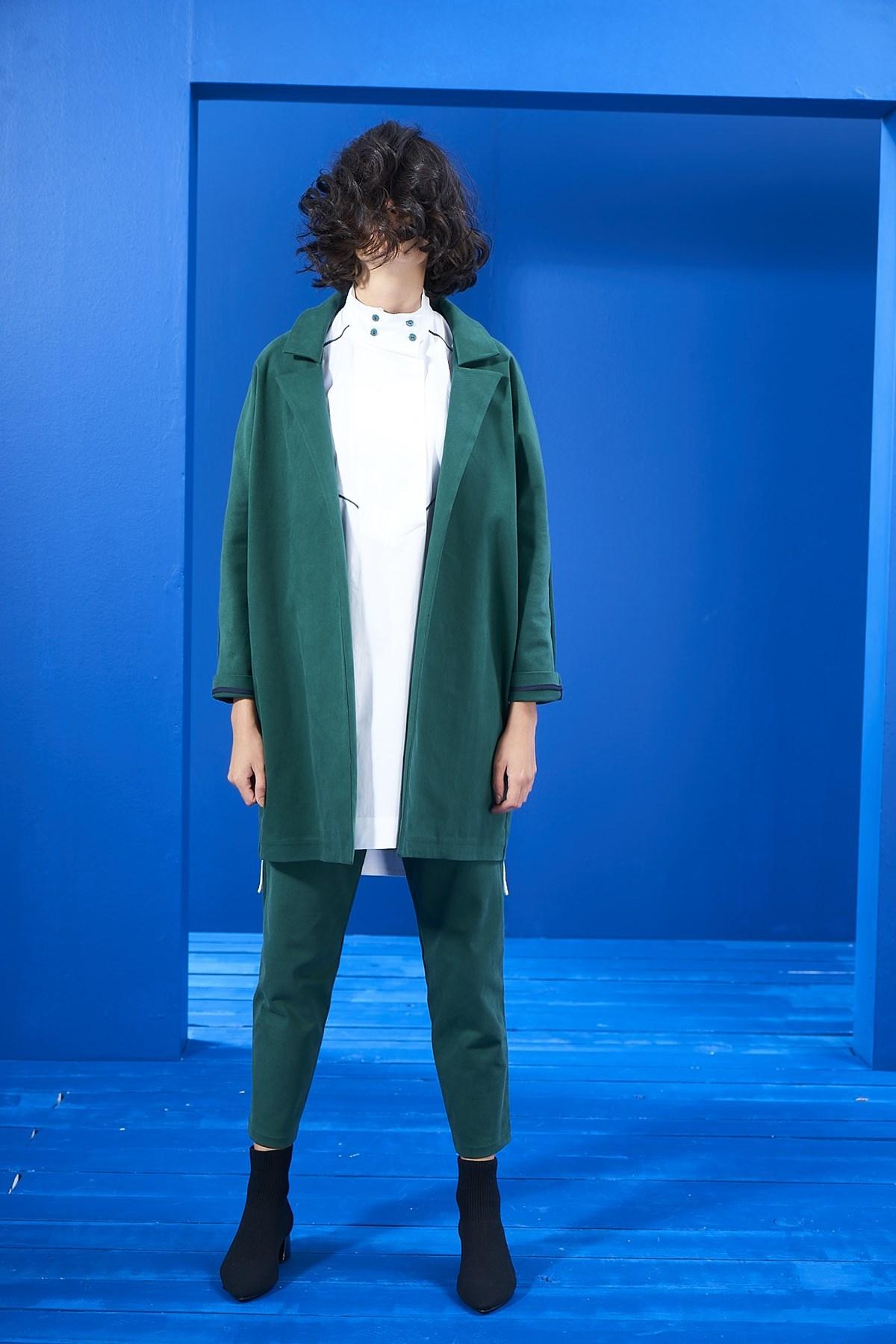Mevra - Yeşil Nakış Detay Blazer Ceket