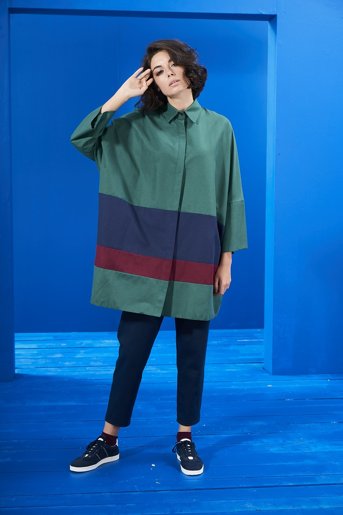 - Yeşil Tunik Laci-Bordo Blok Renkli