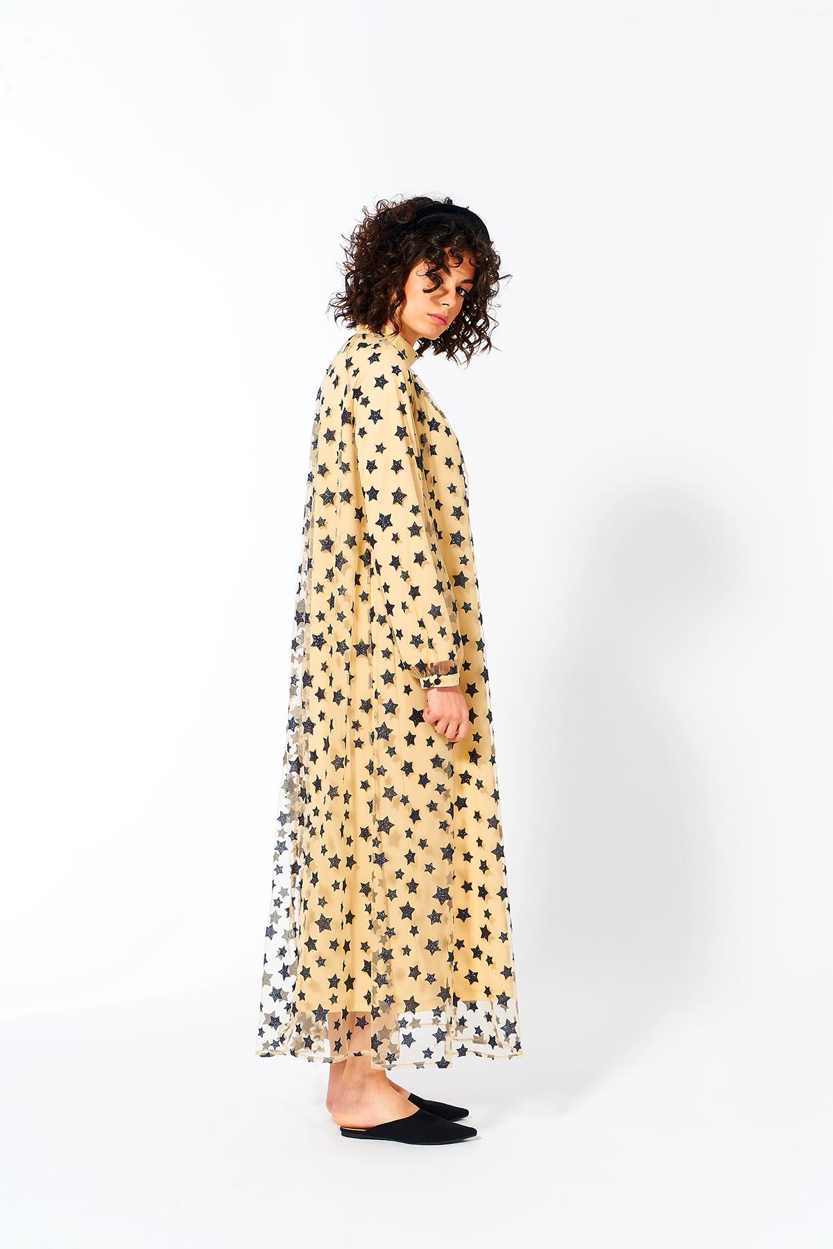 Mevra - Yıldız Desen Tül Elbise