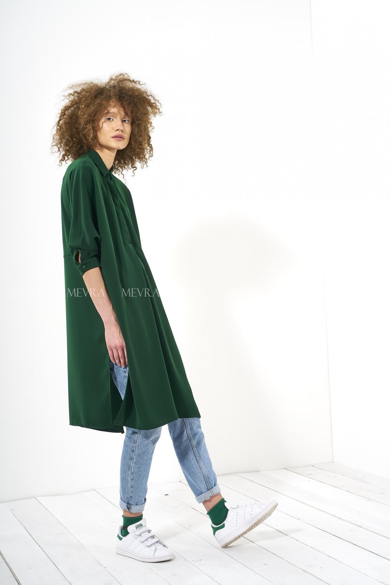 Mevra - Yırtmaçlı Tunik Koyu Yeşil