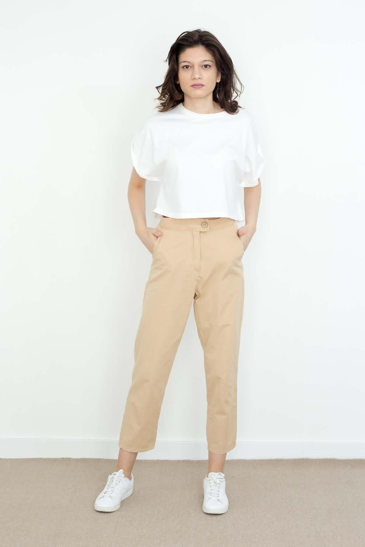 Mevra - Yüksek Bel Pantolon Bej