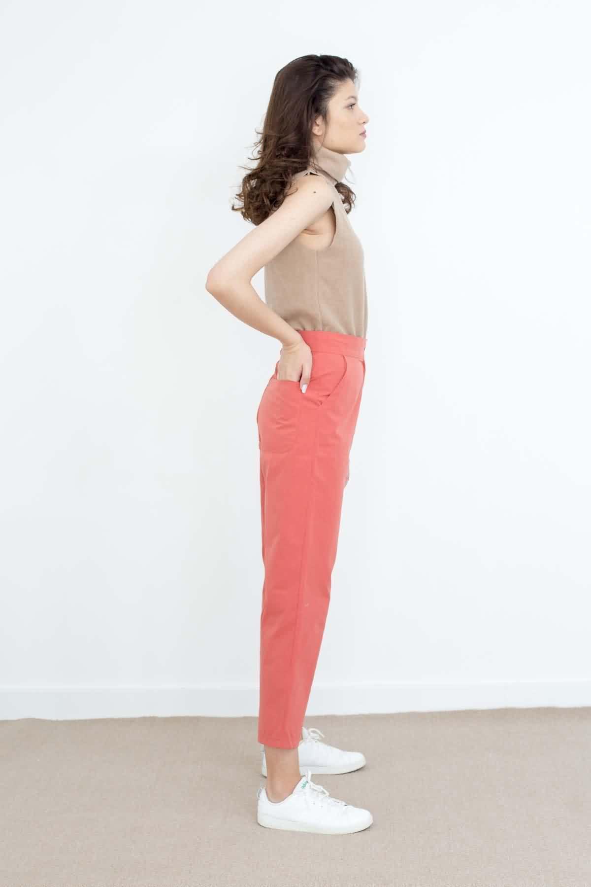 Mevra - Yüksek Bel Pantolon Kiremit