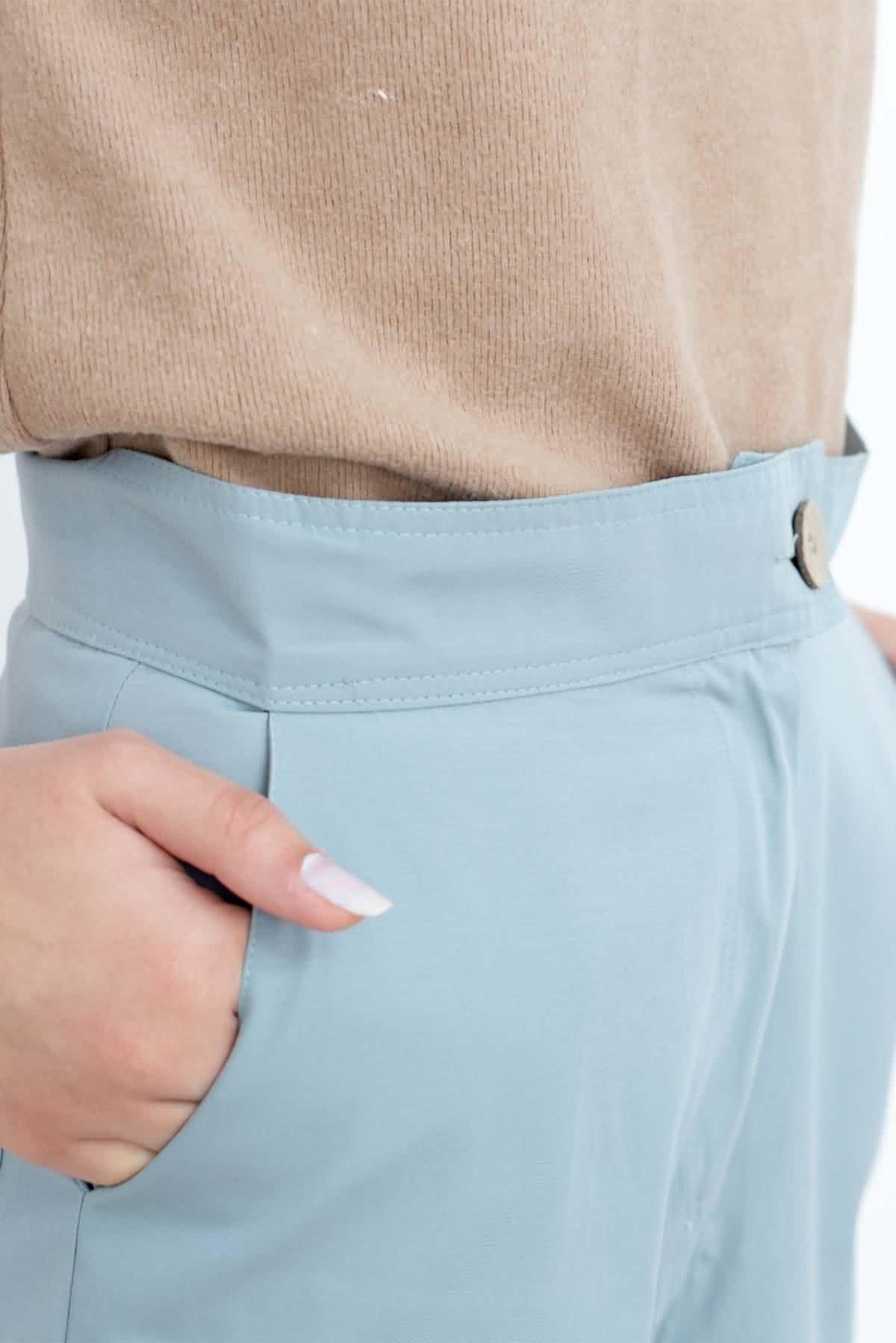 Mevra - Yüksek Bel Pantolon Mavi