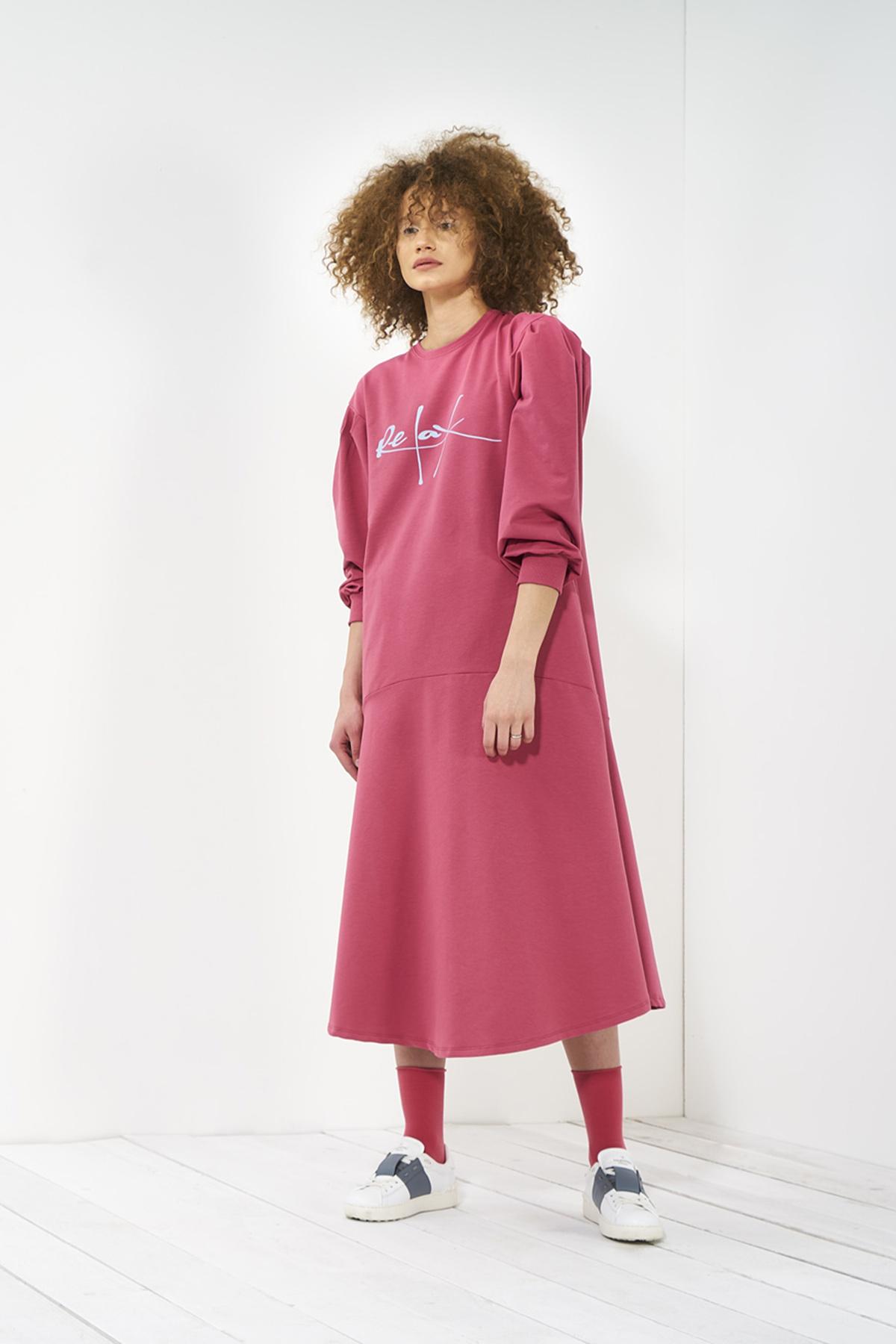 Mevra - Zero Volanlı Elbise Gül Kurusu