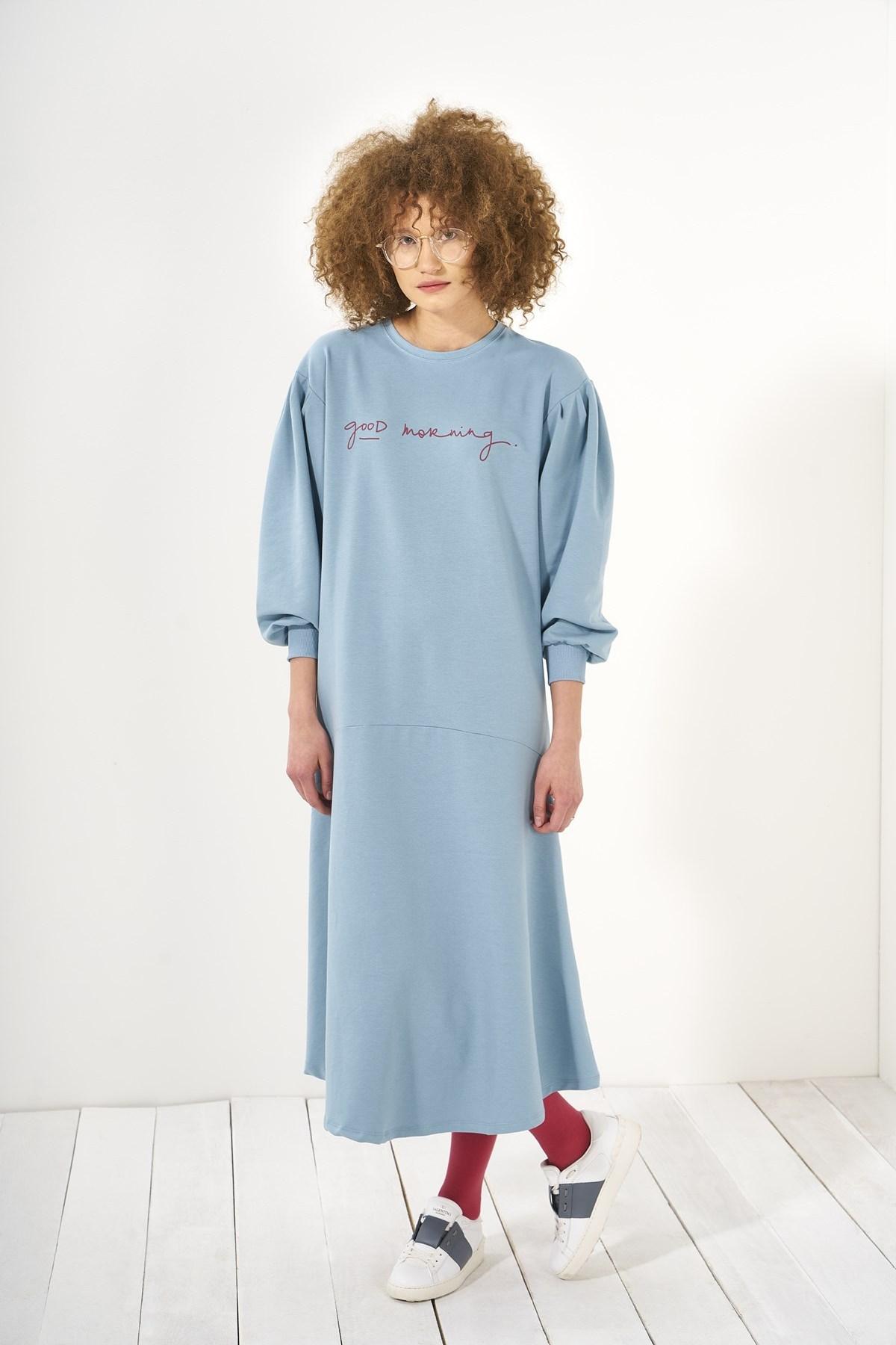 Mevra - Zero Volanlı Elbise Mavi