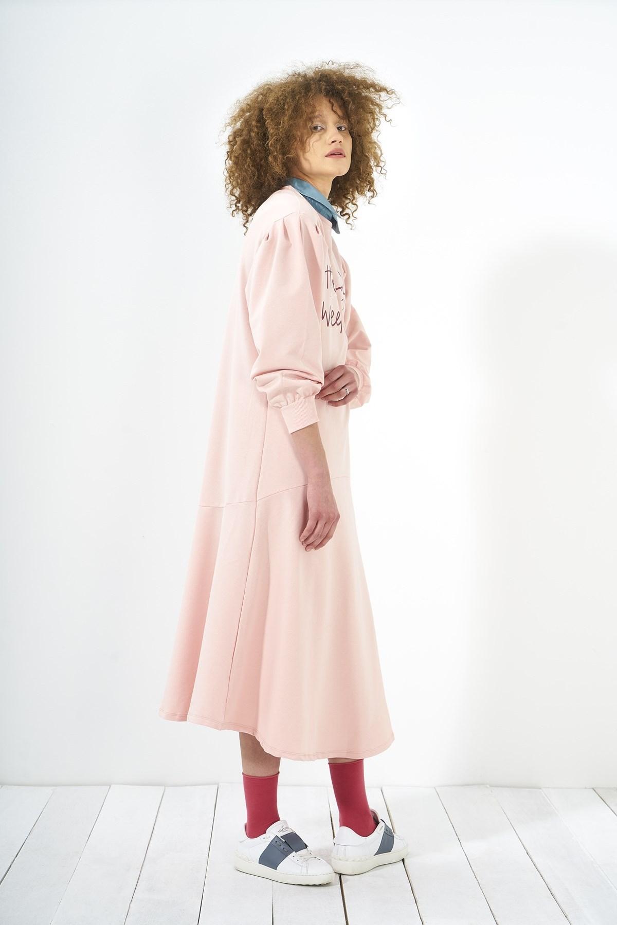 Mevra - Zero Volanlı Elbise Pudra