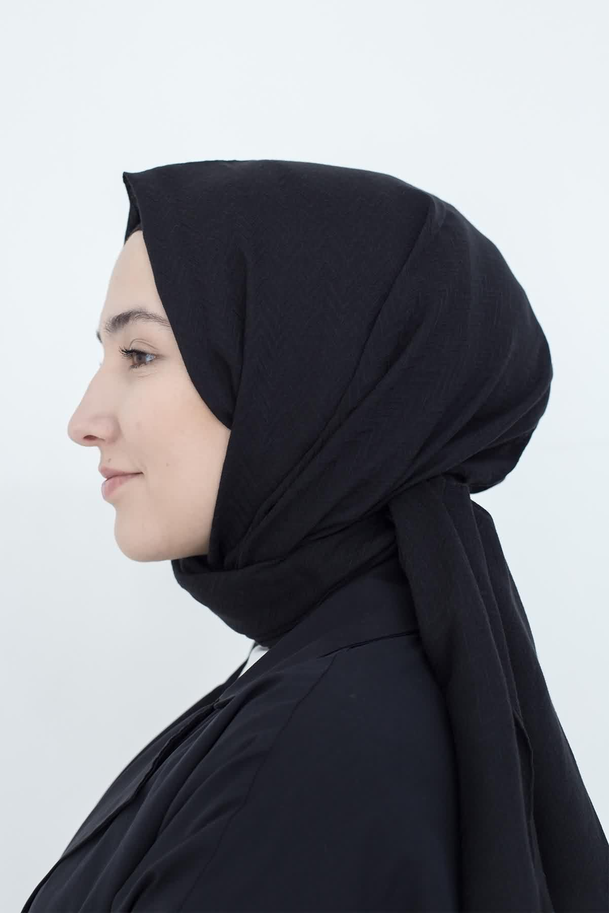 Mevra - Zigzag Şal Siyah